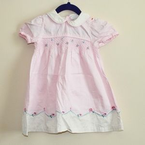 Little Me Signature Pink Dress Embroidered Floral